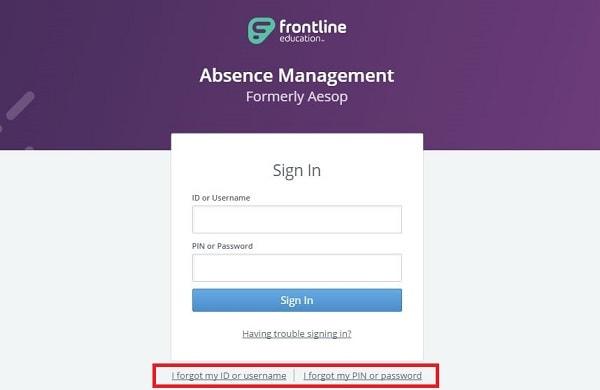 Aesop Frontline online Login error